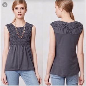 Anthropologie Deletta Smocked Cadence Top Sz S